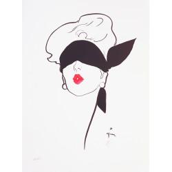 René Gruau , Rouge baiser - Lithographie signée