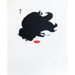 René Gruau, Rouge baiser Cheveux au vent - Lithographie signée et numérotée